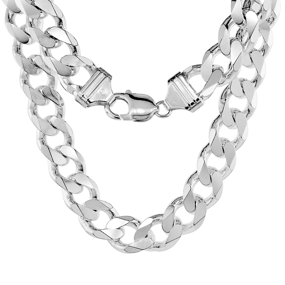 Sterling Silver Thick Curb Cuban Link Chain Necklaces & Bracelets 13mm Beveled Nickel Free Italy, 8-30