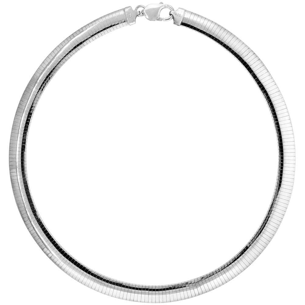 Sterling Silver 10mm Omega Necklace for Women Nickel Free Italy 3/8 inch wide, sizes 7 - 20 inch