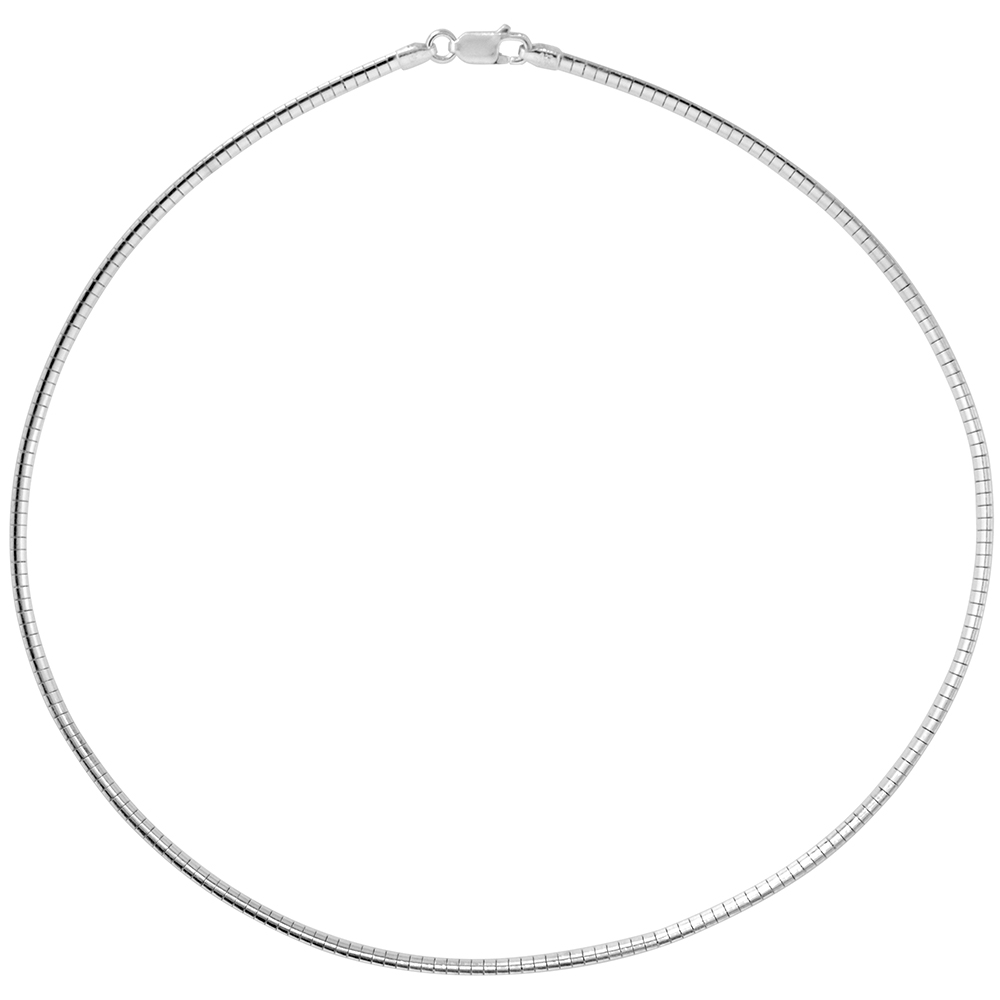 Sterling Silver 2mm Omega Necklace for Women Nickel Free Italy 1/16 inch wide, sizes 7 - 20 inch