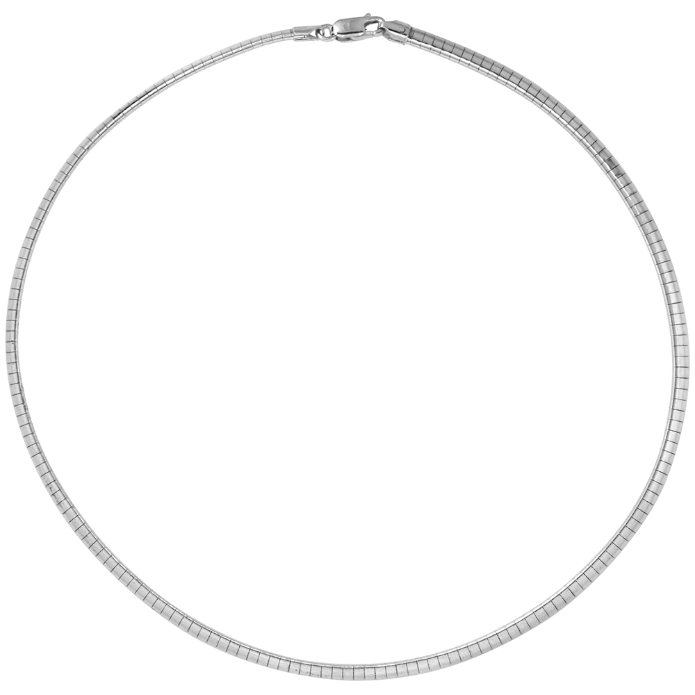 Sterling Silver 4mm Omega Necklace for Women Nickel Free Italy 3/16 inch wide, sizes 7 - 20 inch