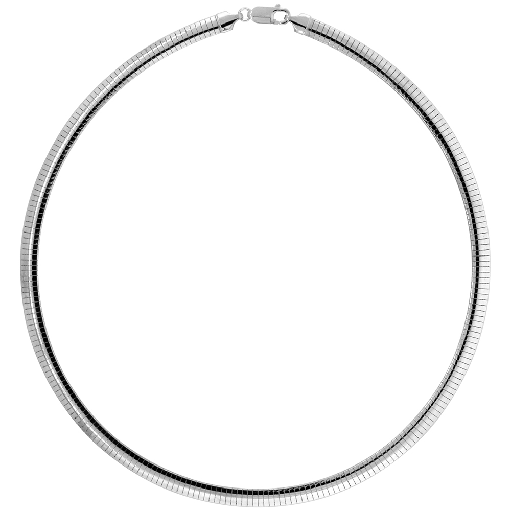 Sterling Silver 6mm Omega Necklace for Women Nickel Free Italy 1/4 inch wide, sizes 7 - 20 inch