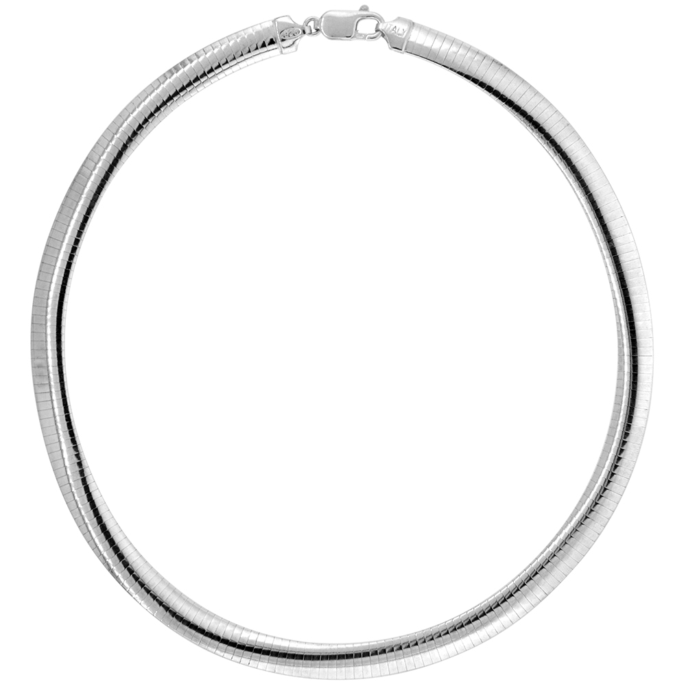 Sterling Silver 8mm Omega Necklace for Women Nickel Free Italy 5/16 inch wide, sizes 7 - 20 inch