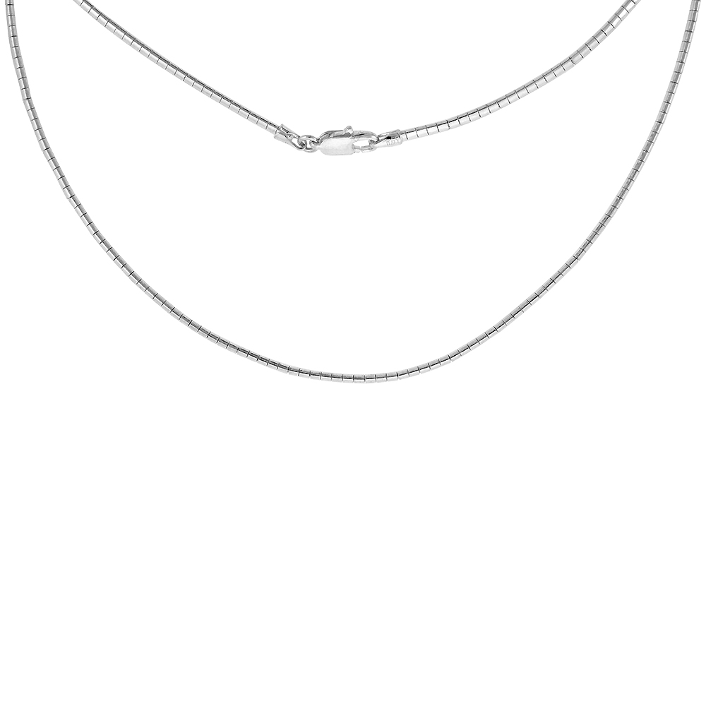 Sterling Silver 2mm Round Omega Necklace for Women Nickel Free Italy 1/16 inch wide, sizes 7 - 20 inch