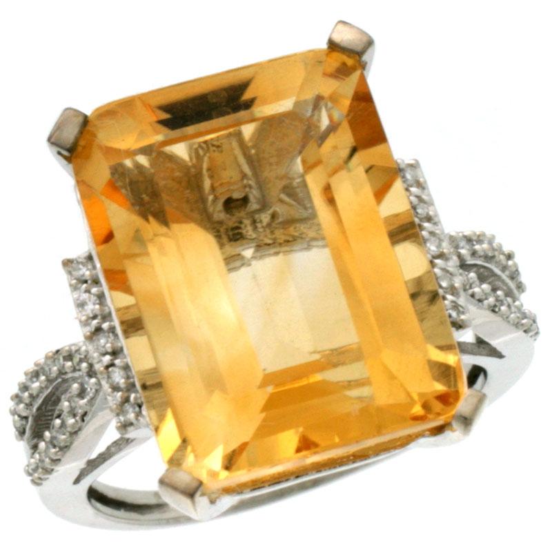 14K White Gold Diamond Natural Citrine Ring Emerald-cut 16x12mm, sizes 5-10