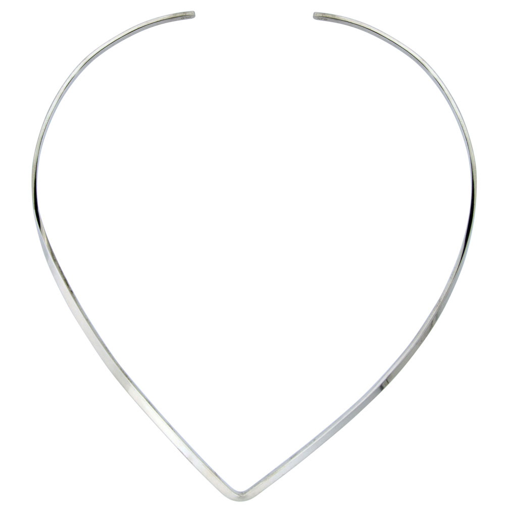 Sterling Silver Wire Choker Collar Necklace V shape Handmade 1/8 inch