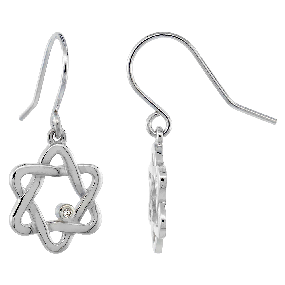 Dainty Sterling Silver Diamond Star of David Dangle Earrings Flawless Finish Nice Diamonds 1 1/8 inch