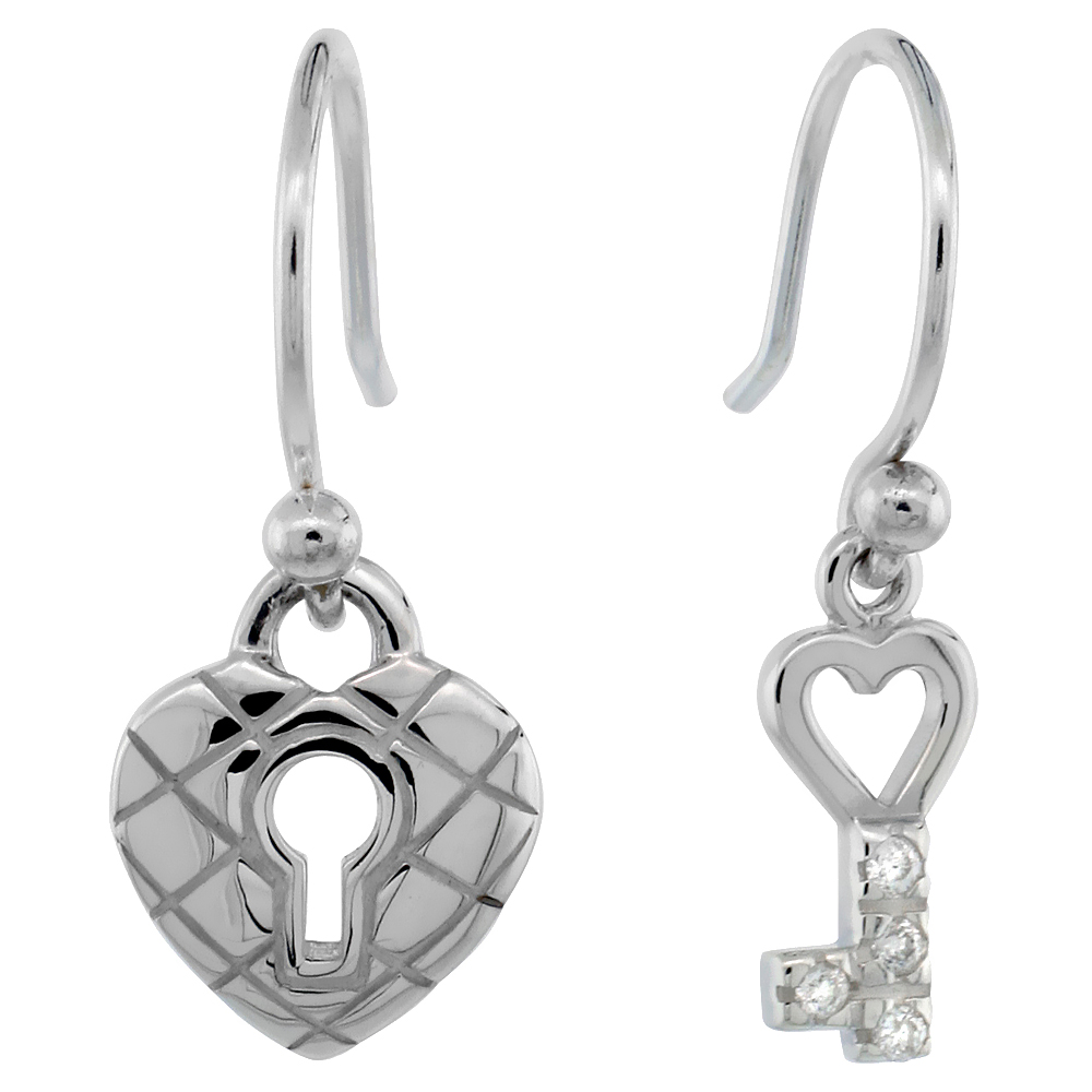 Dainty Sterling Silver Diamond Key To My Heart Dangle Earrings Flawless Finish Nice Diamonds 3/4 inch