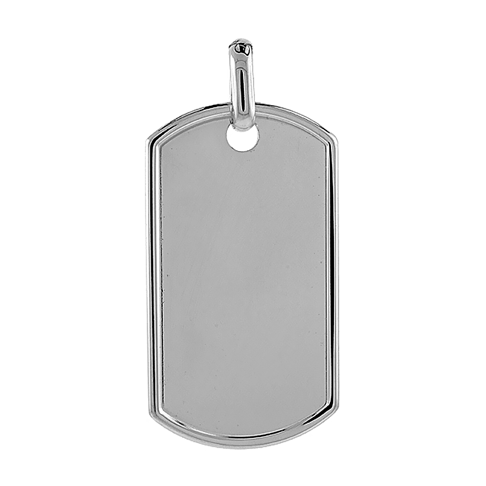 Sterling Silver Dog Tag Raised Border 2 inch full size