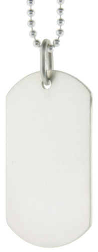 Sterling Silver Dog Tag 1 1/2 inch Mid Size