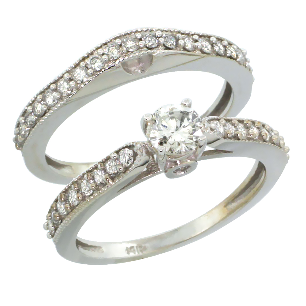 14k White Gold 2-Pc. Diamond Engagement Ring Set w/ 0.92 Carat Brilliant Cut Diamonds, 1/8 in. (3mm) wide