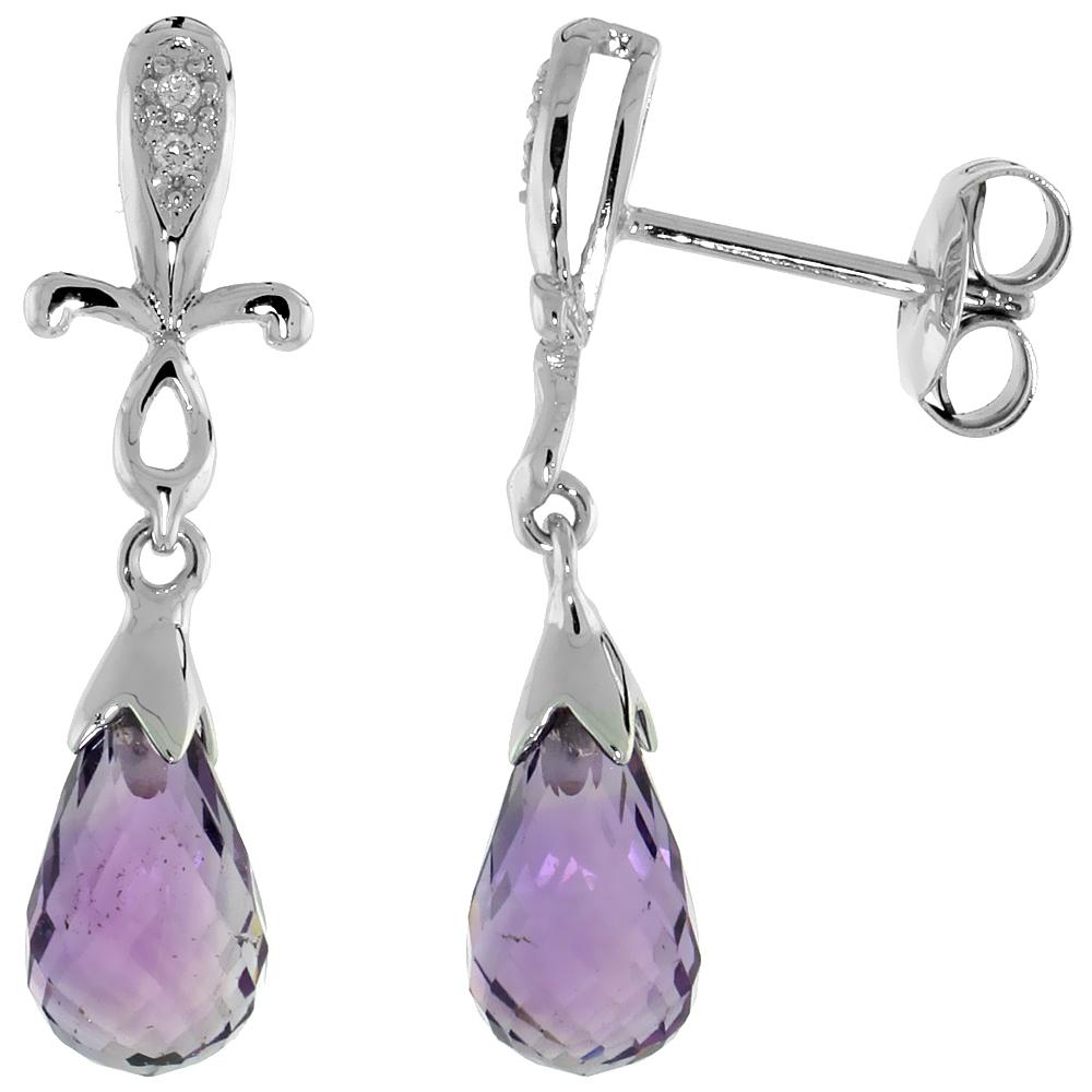 10k White Gold Cross & Amethyst Earrings, w/ 0.02 Carat Brilliant Cut Diamonds, 1 in. (25mm) tall