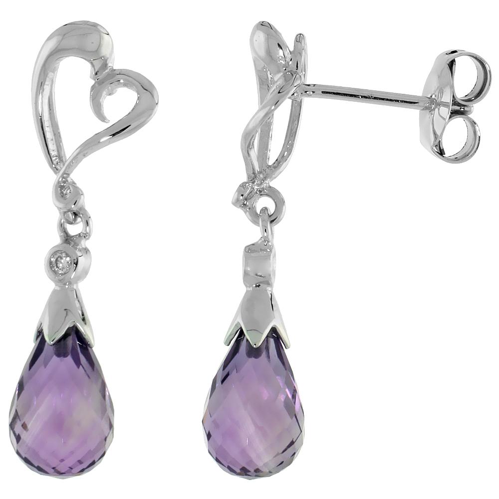 10k White Gold Heart Cut Out & Amethyst Earrings, w/ Brilliant Cut Diamonds, 1 1/16 in. (27mm) tall