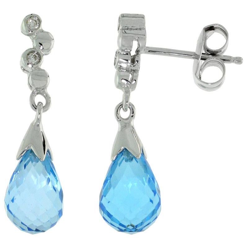 10k White Gold Bubbles & Blue Topaz Earrings, w/ 0.03 Carat Brilliant Cut Diamonds, 7/8 in. (22mm) tall