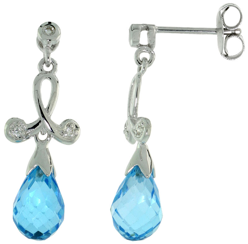 10k White Gold Loop & Blue Topaz Earrings, w/ 0.05 Carat Brilliant Cut Diamonds, 1 in. (26mm) tall