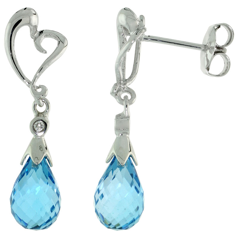 10k White Gold Heart Cut Out & Blue Topaz Earrings, w/ Brilliant Cut Diamonds, 1 1/16 in. (27mm) tall