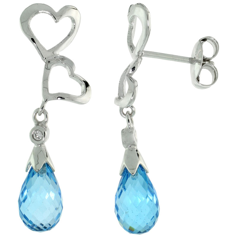 10k White Gold Double Heart Cut Out & Blue Topaz Earrings, w/ Brilliant Cut Diamonds, 1 1/8 in. (29mm) tall