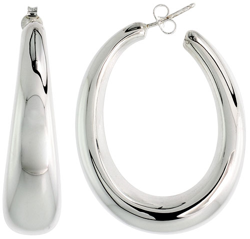 Sterling Silver Puffy Post Hoop Earrings Electroformed, 1 3/4 inch