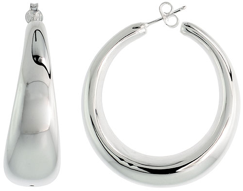 Sterling Silver Puffy Post Hoop Earrings Electroformed, 1 11/16 inch