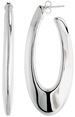 Sterling Silver Puffy Post Hoop Earrings Electroformed, 2 1/4 inch