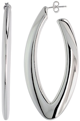 Sterling Silver Puffy Post Hoop Earrings Electroformed, 2 9/16 inch