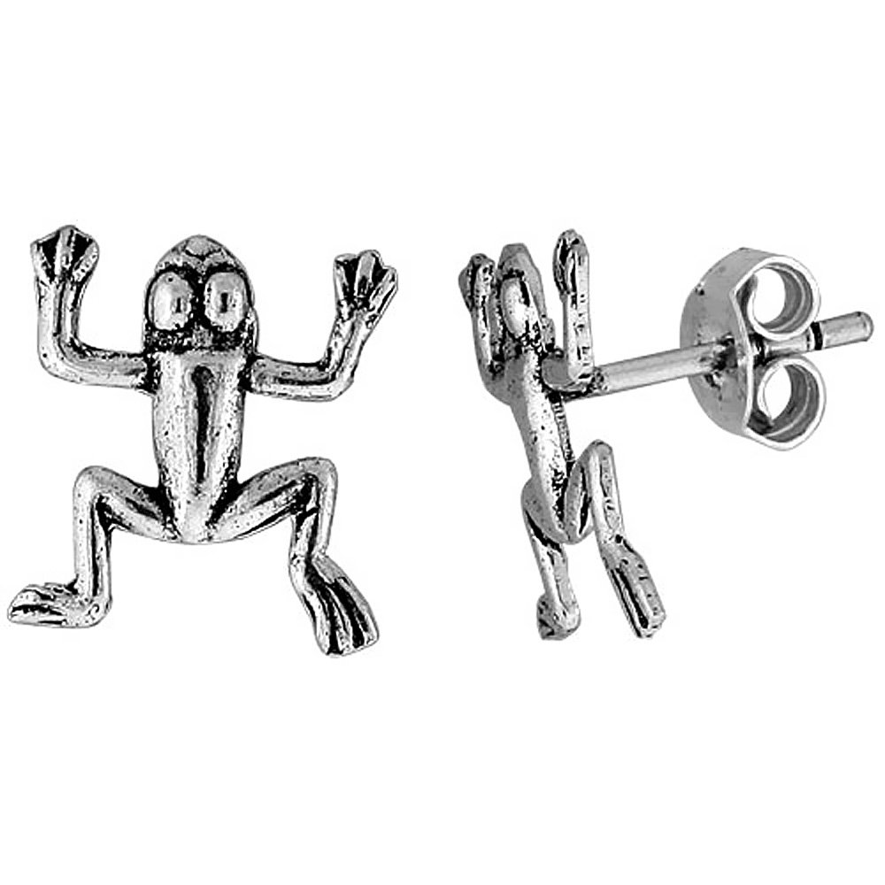 Tiny Sterling Silver Frog Stud Earrings 1/2 inch