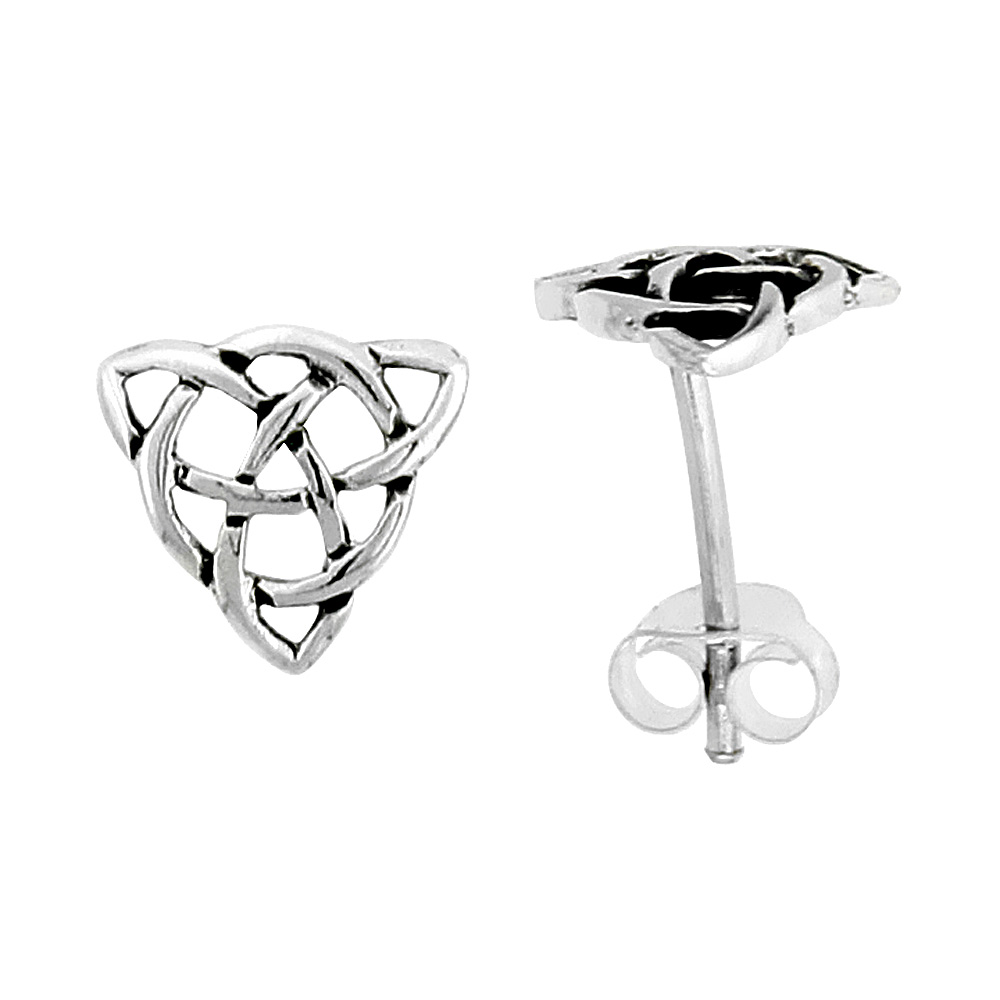 Sterling Silver Triquetra interlaced w/ Circle Celtic Knot Stud Earrings, 1/4 inch