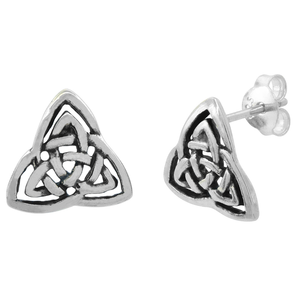 Sterling Silver Triquetra Celtic Trinity Knot Stud Earrings, 1/2 inch