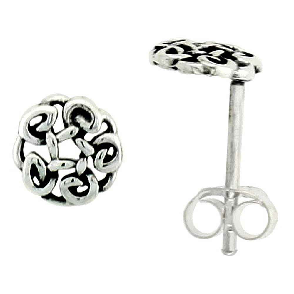 1//4 inch Sterling Silver Triskelion Celtic Symbol Stud Earrings