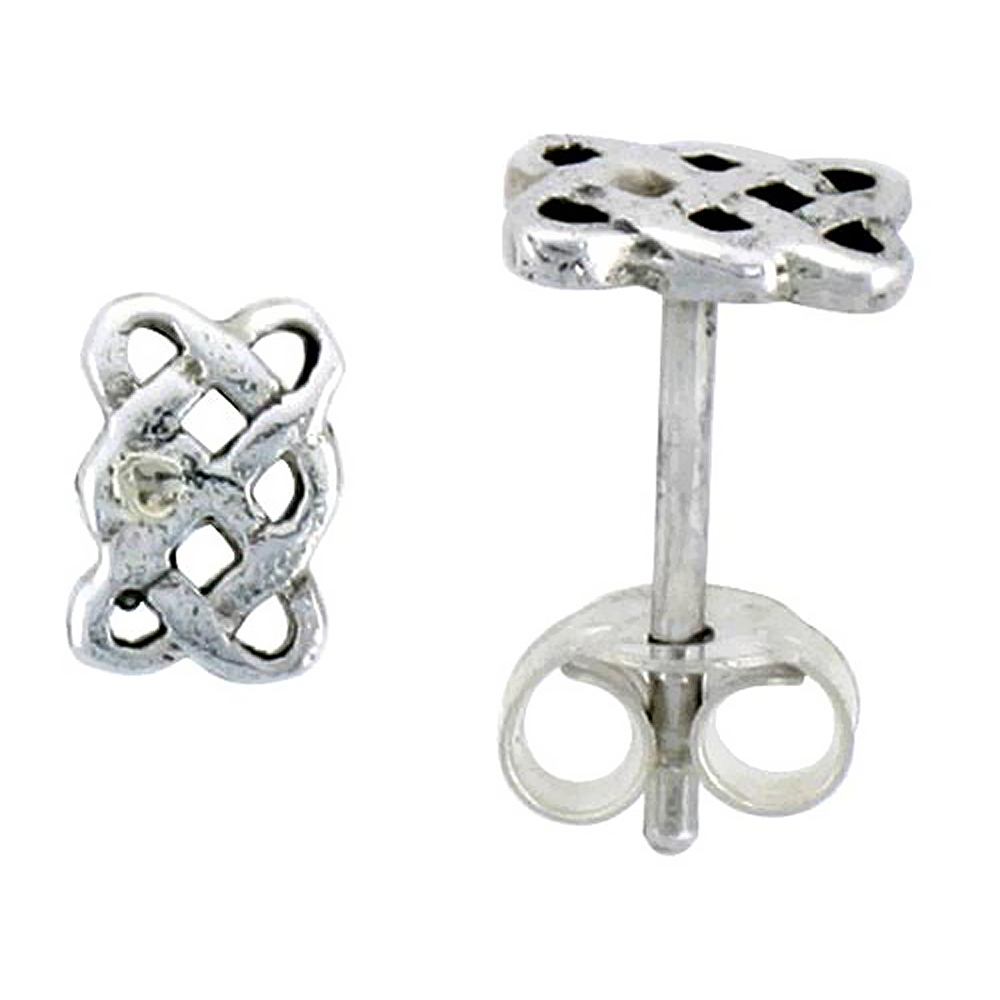 Sterling Silver Celtic Knot Braid Stud Earrings, 1/4 inch