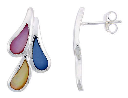 "Sterling Silver Teardrop Pink, Blue & Light Yellow Mother of Pearl Inlay Earrings, 1"" (25 mm) tall"