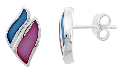 "Sterling Silver Pink & Blue Mother of Pearl Inlay Earrings, 5/8"" (15 mm) tall"
