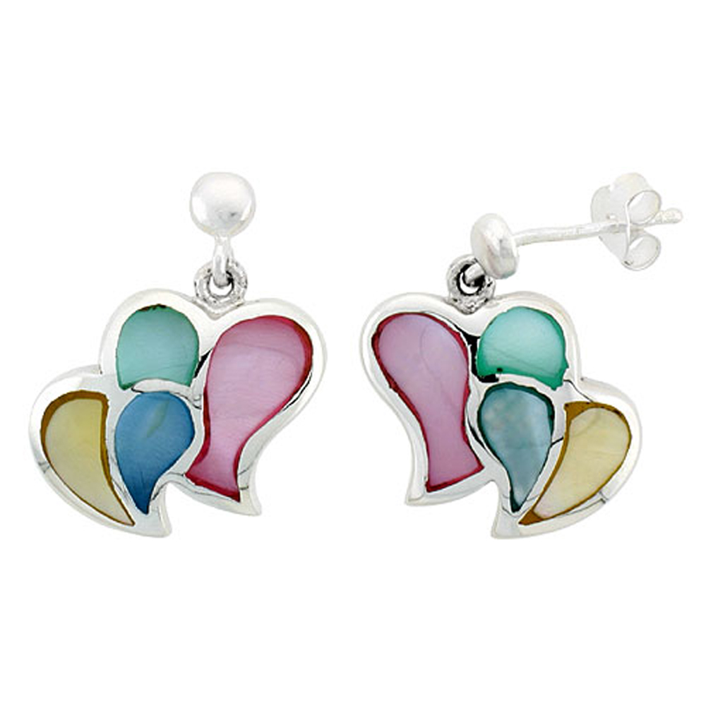 "Sterling Silver Double Heart Pink, Blue, Green & Light Yellow Mother of Pearl Inlay Earrings, 5/8"" (15 mm) tall"