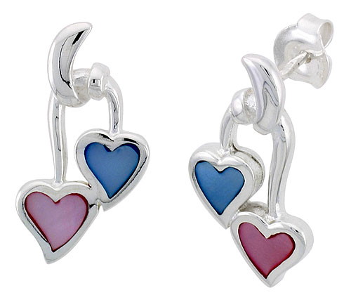 "Sterling Silver Double Heart Pink & Blue Mother of Pearl Inlay Earrings, 7/8"" (22 mm) tall"