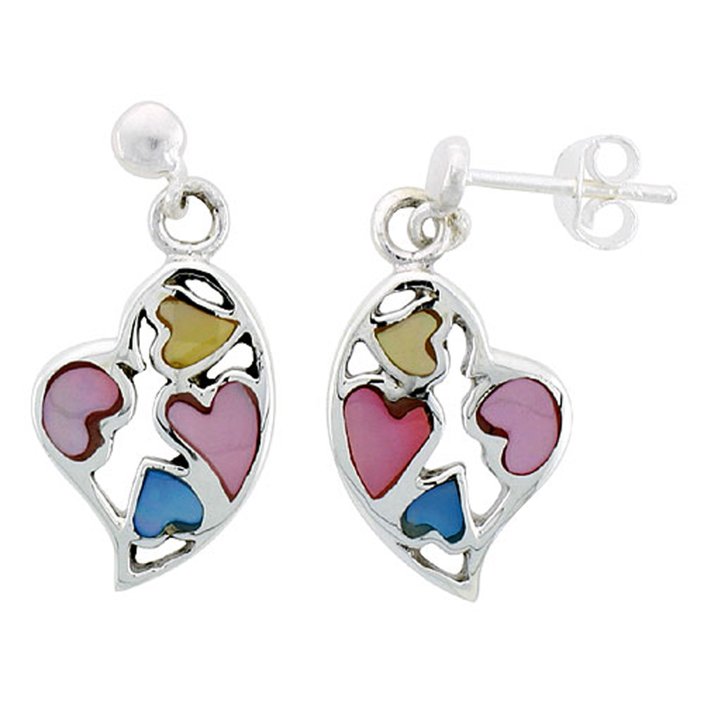 "Sterling Silver Heart Pink, Blue & Light Yellow Mother of Pearl Inlay Earrings, 11/16"" (17 mm) tall"