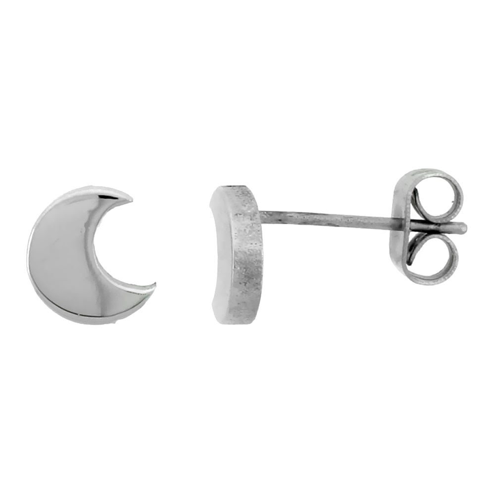 3 PAIR PACK Small Stainless Steel Crescent Moon Stud Earrings, 1/4 inch