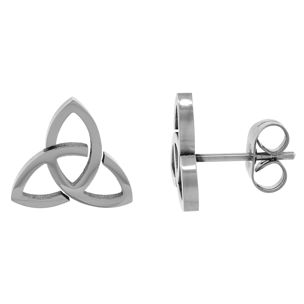 Small Stainless Steel Celtic Trinity Stud Earrings Triquetra, 3/8 inch 10 mm