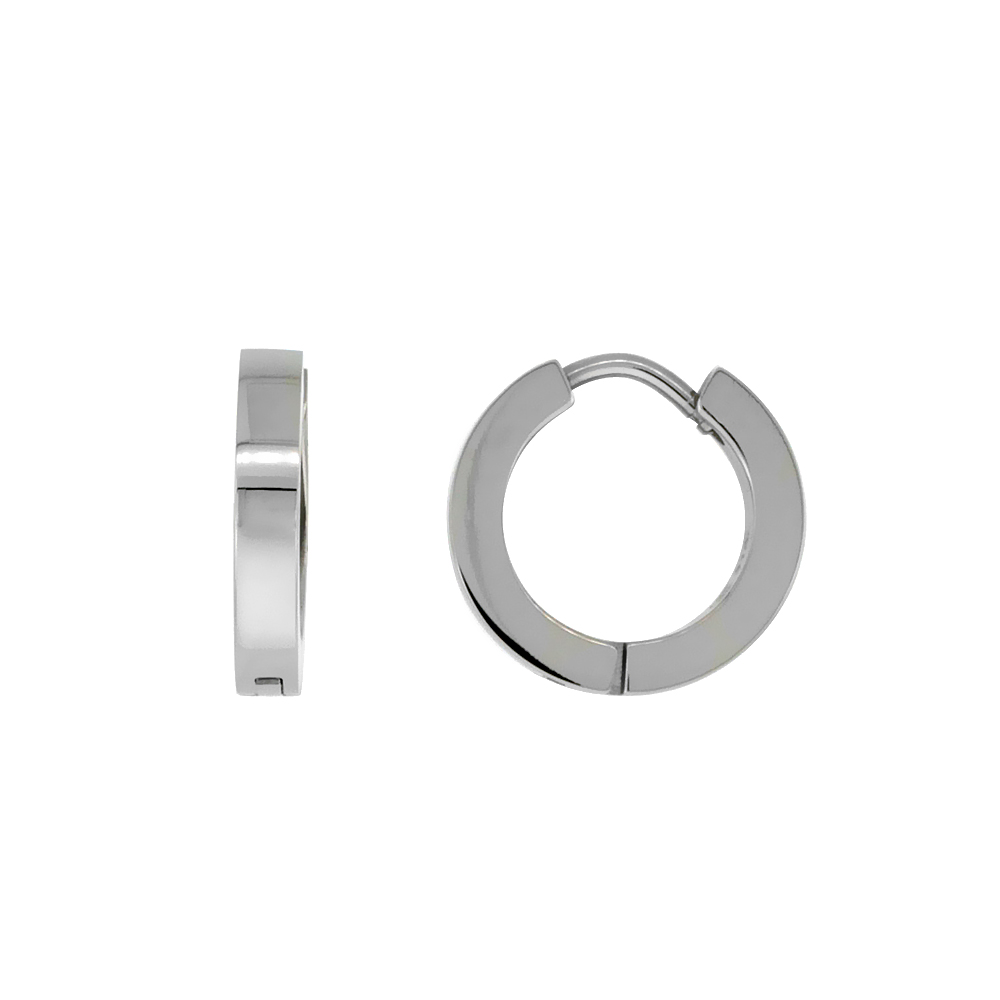 Stainless Steel Thin Plain Huggie Earrings Square Edge, 1/2 inch diameter