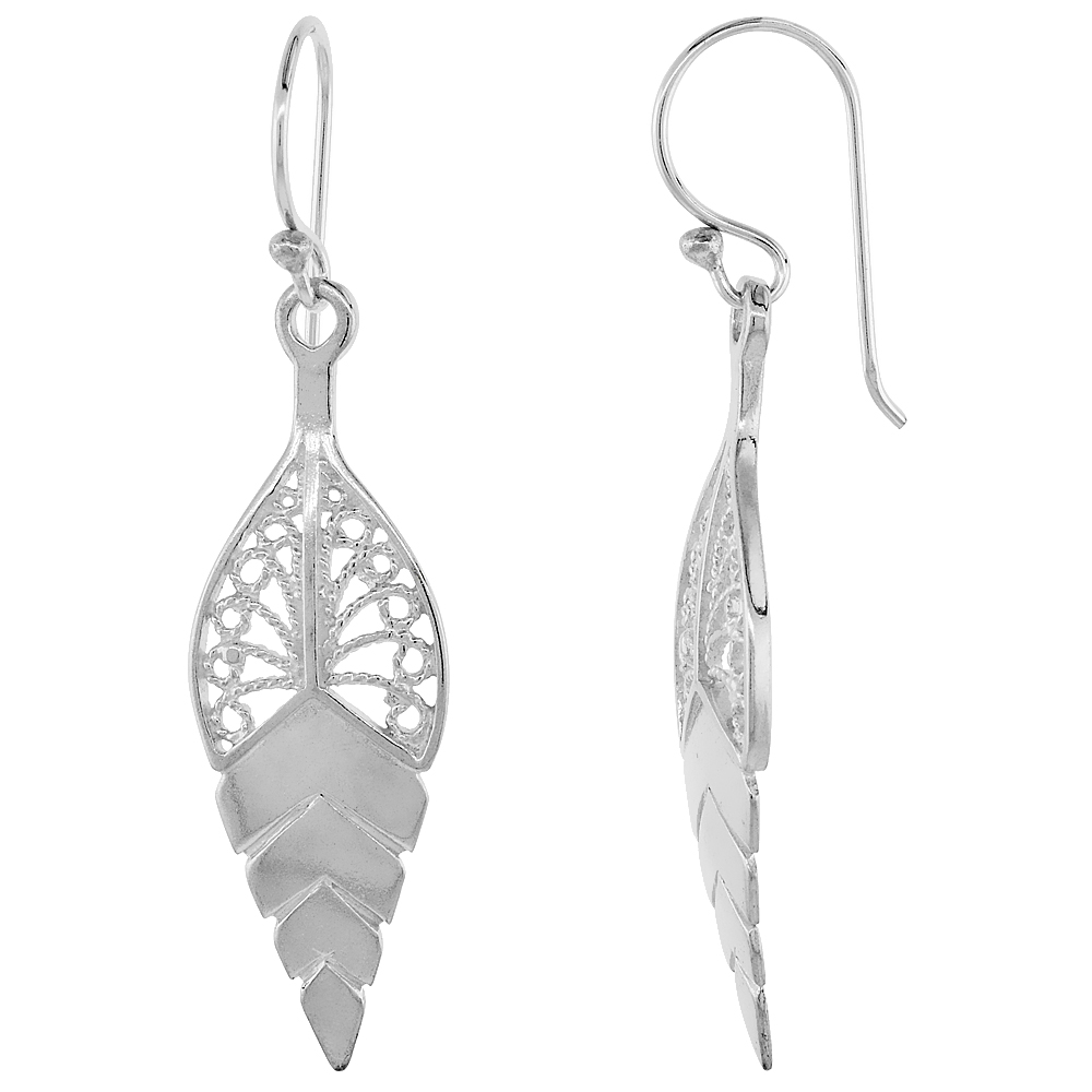 Sterling Silver Leaf Filigree Earrings 1 3/4 inch