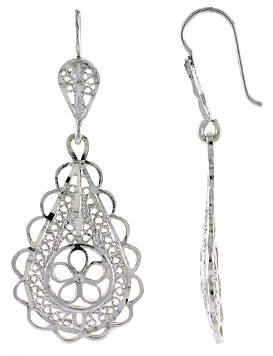 Sterling Silver Teardrop Filigree Earrings 1 3/4 inch