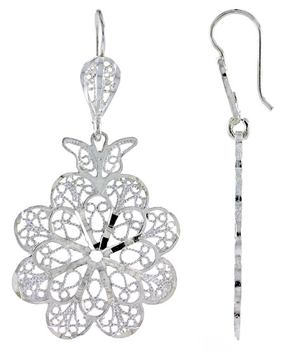 Sterling Silver Flower Filigree Earrings 1 7/8 inch