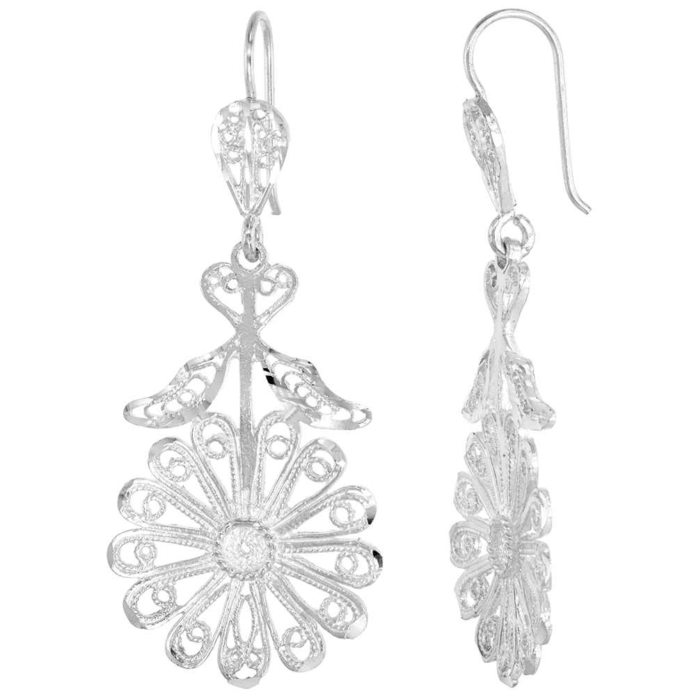Sterling Silver Flower Filigree Earrings 2 inch