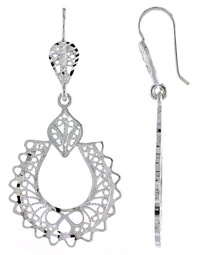Sterling Silver Horseshoe Filigree Earrings 1 3/4 inch