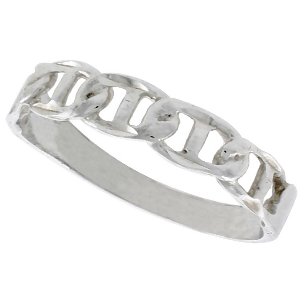 Sterling Silver Tiny Mariner Link Chain Ring Polished finish 3/16 inch wide, sizes 6 - 9