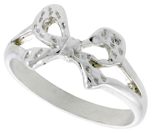 Sterling Silver Dainty Bow Ring Polished finish 5/16 inch wide, sizes 6 - 9