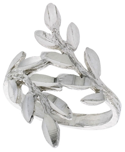 Sterling Silver Olive Branch Ring Polished finish 7/8 inch wide, sizes 6 - 9