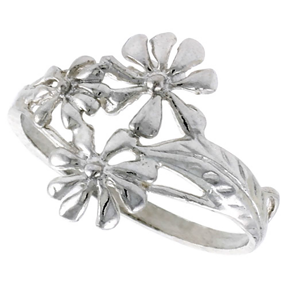 Sterling Silver Daisy Flower Ring 5/8 inch wide, sizes 6 - 9