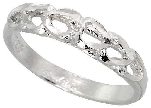 """Sterling Silver Amor Ladies Ring Polished Finish 3//16/"""" wide"""