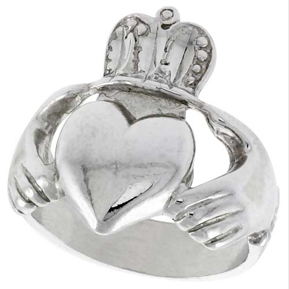 Sterling Silver Large Claddagh Ring 7/8 inch wide, sizes 6 - 10