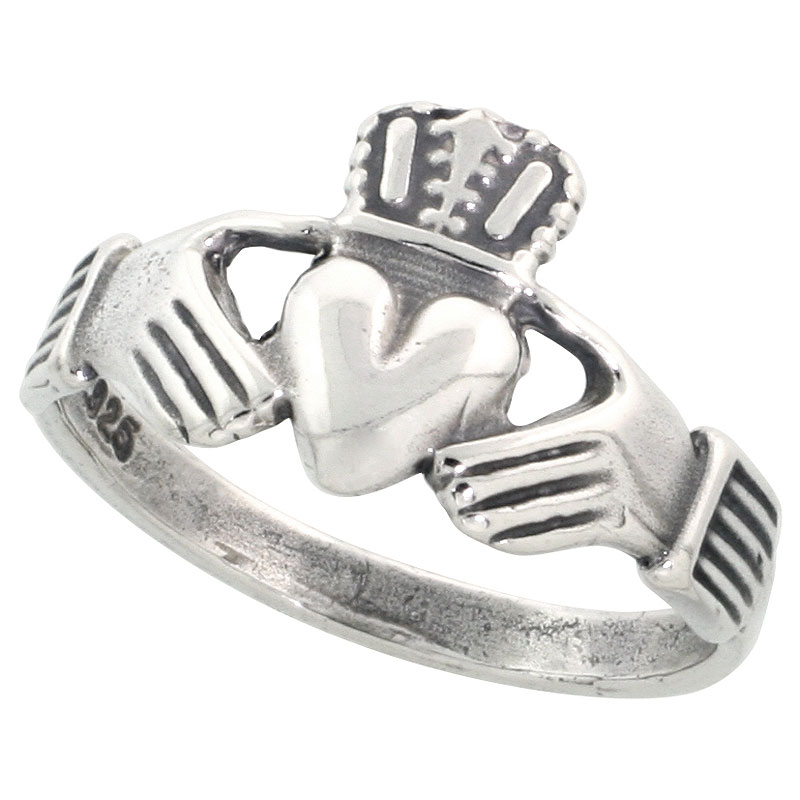 Sterling Silver Small Claddagh Ring 7/16 inch wide, sizes 4 - 9