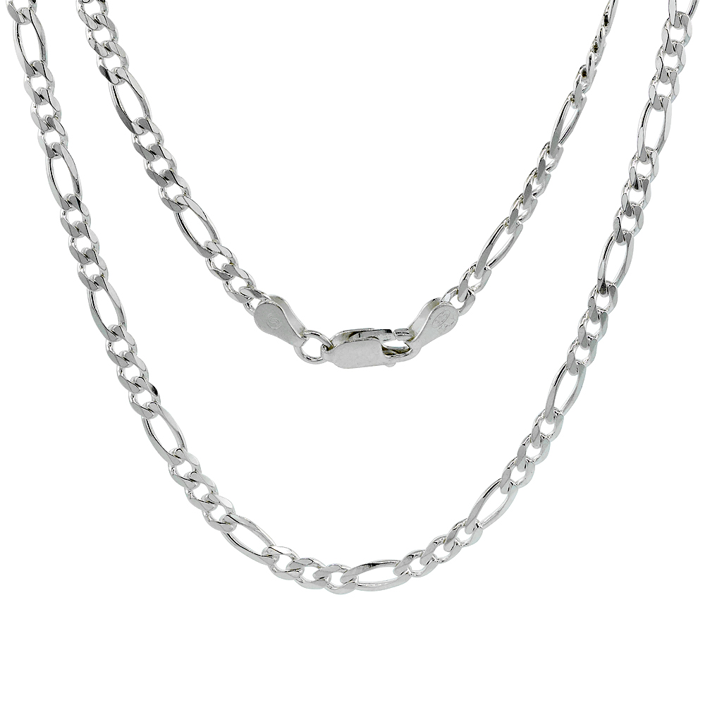 Sterling Silver FIGARO Chain Necklaces & Bracelets 3.8mm Beveled Edges Nickel Free Italy, sizes 7 - 30 inch